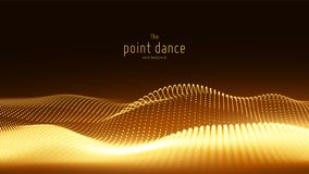 Vector abstract golden particle wave, points array, shallow depth of field. Futuristic illustration. Technology digital. Splash or explosion of data points Vector Illustration