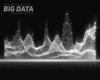 Vector abstract grayscale big data visualization. Futuristic infographics aesthetic design. Royalty Free Stock Image
