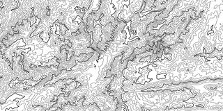 Vector abstract grayscale earth relief map. Generated conceptual elevation map. Isolines of landscape surface elevation. Royalty Free Stock Photos