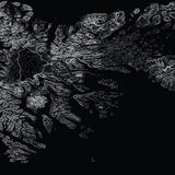Vector abstract grayscale earth relief map. Generated conceptual elevation map. Isolines of landscape surface elevation. Stock Photos