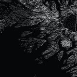 Vector abstract grayscale earth relief map. Generated conceptual elevation map. Isolines of landscape surface elevation. Stock Photo