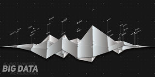 Vector abstract grayscale financial big data graph visualization. Futuristic infographics aesthetic design. Royalty Free Stock Images