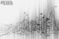 Vector abstract grayscale financial big data graph visualization. Futuristic infographics aesthetic design. Stock Photography