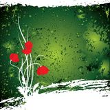 Vector abstract green background. With poppys Royalty Free Illustration
