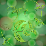 Vector abstract green background with bokeh light effects and leaves Royalty Free Stock Images