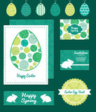 Vector abstract green circles set of Easter cards Royalty Free Stock Photos