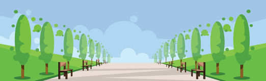 Vector abstract green landscape with alley. A road and benches in a park, flat style vector illustration
