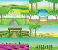 Vector abstract green landscape set stock illustration