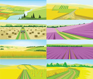 Vector abstract green landscape set vector illustration