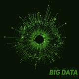 Vector abstract green round big data visualization. Futuristic infographics design. Visual information complexity. Intricate data threads graphic. Social Stock Image