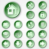Vector abstract green round paper icon set Royalty Free Stock Image