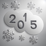 Vector abstract grey circles for the New Year 2015. Vector abstract circles grey cloud with the New Year 2015 and snowflakes Stock Photos