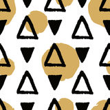 Vector abstract grunge seamless pattern with black triangles and golden circles Royalty Free Stock Image
