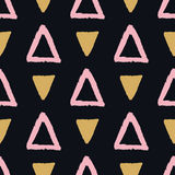 Vector abstract grunge seamless pattern with pink and golden triangles Stock Images