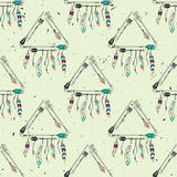 Vector abstract grunge seamless pattern with tribal frames Royalty Free Stock Photo