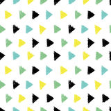 Vector Abstract Hand Drawn Black, Green, Yellow Ink Geometric Arrows Triangles Pattern With Fun Circles. Great for. Vintage fabric, cards, invitations, clothing Royalty Free Stock Photo