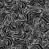 Vector abstract hand-drawn naadloos patroon met golven en wolk royalty-vrije illustratie