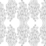 Vector abstract hand-drawn pattern with waves and clouds. White background. Endless white  backdrop. Royalty Free Stock Photography