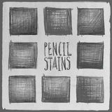 Vector abstract hand drawn pencil squares set Royalty Free Stock Photos