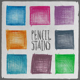 Vector abstract hand drawn pencil squares set Stock Photos