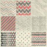 Vector Abstract Hand Drawn Seamless Background. Set of Nine Artistic Abstract Hand Sketched Geometric Red and Grey Seamless Background Patterns on Crumpled Paper royalty free illustration