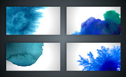 Vector abstract hand drawn set blue watercolor Royalty Free Stock Photography