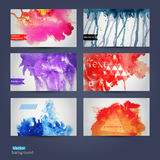 Vector abstract hand drawn set of six watercolor background,vect Royalty Free Stock Photography