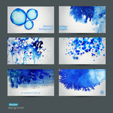 Vector abstract hand drawn set of six watercolor background,vect Stock Photos