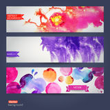 Vector abstract hand drawn set of tree watercolor background,vec Stock Photography
