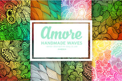 Vector abstract hand-drawn waves texture set, wavy background. Colorful waves backdrop Royalty Free Stock Photography