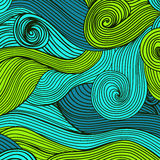 Vector abstract hand-drawn waves texture, wavy background. Color Royalty Free Stock Images