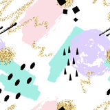 Vector abstract hand getrokken naadloos patroon met geometrische en borstel geschilderde elementen Royalty-vrije Stock Afbeelding