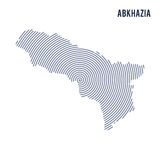 Vector abstract hatched map of Abkhazia with spiral lines isolated on a white background. Royalty Free Stock Image