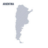 Vector abstract hatched map of Argentina with oblique lines isolated on a white background. Travel vector illustration stock illustration