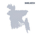 Vector abstract hatched map of Bangladesh isolated on a white background. Royalty Free Stock Image