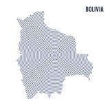 Vector abstract hatched map of Bolivia with spiral lines isolated on a white background. Stock Photo