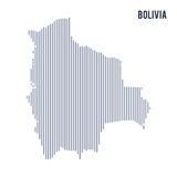 Vector abstract hatched map of Bolivia with vertical lines isolated on a white background. Travel vector illustration royalty free illustration