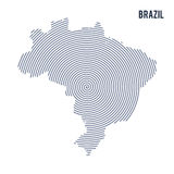 Vector abstract hatched map of Brazil with spiral lines isolated on a white background. Royalty Free Stock Photos