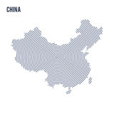 Vector abstract hatched map of China with spiral lines isolated on a white background. Stock Image