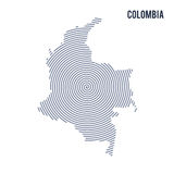 Vector abstract hatched map of Colombia with spiral lines isolated on a white background. Royalty Free Stock Photography