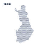 Vector abstract hatched map of Finland isolated on a white background. Stock Photo