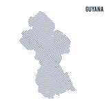 Vector abstract hatched map of Guyana with spiral lines isolated on a white background. Royalty Free Stock Images
