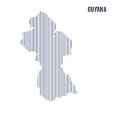 Vector abstract hatched map of Guyana with vertical lines isolated on a white background. Travel vector illustration royalty free illustration