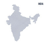 Vector abstract hatched map of India with spiral lines isolated on a white background. Stock Photography