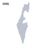 Vector abstract hatched map of Israel isolated on a white background. Stock Photo