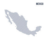 Vector abstract hatched map of Mexico with oblique lines isolated on a white background. Travel vector illustration vector illustration