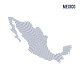Vector abstract hatched map of Mexico with spiral lines isolated on a white background. Stock Photos