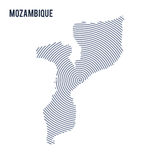 Vector abstract hatched map of Mozambique with spiral lines isolated on a white background. Stock Images