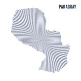 Vector abstract hatched map of Paraguay with spiral lines isolated on a white background. Royalty Free Stock Photos