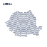 Vector abstract hatched map of Romania isolated on a white background. Stock Photo